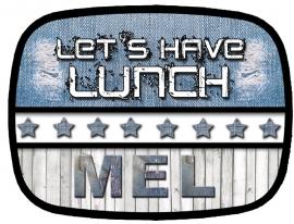 Broodtrommel Let's have lunch denim