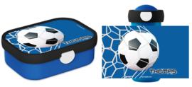 Set broodtrommel en drinkbeker Voetbal Goal! blauw