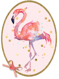 Strijkapplicatie Flamingo aquarel