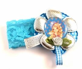 Elastisch armbandje kant blauw Lola