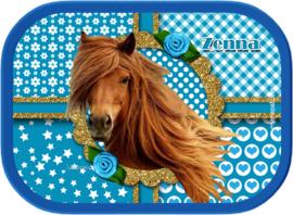 Broodtrommel paard Sara turquoise/goud