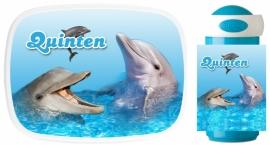 Set broodtrommel en drinkbeker Dolfijn