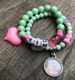 Kralenpakketje mint/roze met unicorn bedel