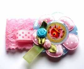 Elastisch armbandje kant roze Vintage Donky
