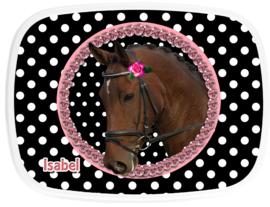 broodtrommel Paard op zwart/wit polkadot