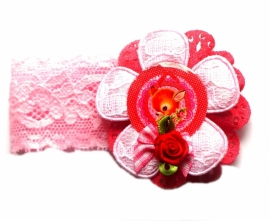 Elastisch armbandje kant roze Vintage Deer rozet