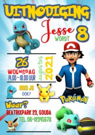 Kinderfeest uitnodiging Pokemon,  setje van 6 stuks