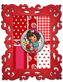 Leuk lijstje rood brocante (kunststof) met Floortje Flowers
