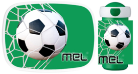 Set broodtrommel en drinkbeker Voetbal Goal! groen