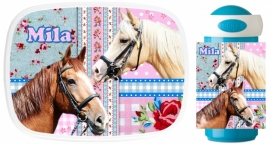 Set broodtrommel en beker Mila's paarden
