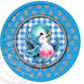 Strijkapplicatie Vintage vogeltje blauw/zilver