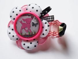 Elastisch armbandje Hertje pink/black