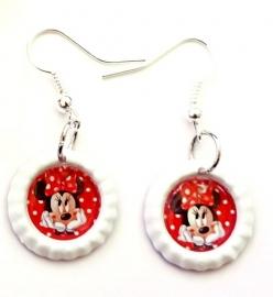Oorbellen mini bottlecap plat wit Minnie Mouse