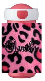 Drinkbeker panterprint roze