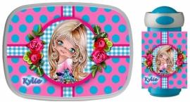 Set Mepal broodtrommel en drinkbeker Kylie turquoise/roze