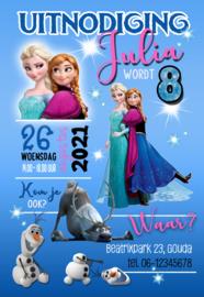 Kinderfeest uitnodiging Frozen,  setje van 6 stuks