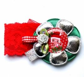Kerst elastisch armbandje Kylie rood/groen/zilver