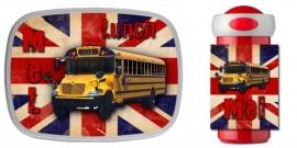 NIEUW!! Set broodtrommel en drinkbeker British Flag met Schoolbus en naam