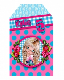 Kinderfeest traktatie labels Kylie, setje van 5 stuks