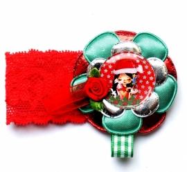 Kerst elastisch armband Juul rood/groen/zilver