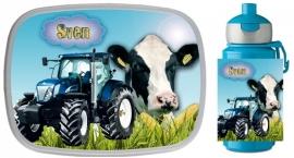 Set broodtrommel en drinkbeker Traktor en Koe