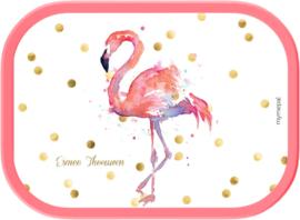 Mepal broodtrommel Flamingo aquarel wit, roze of mint