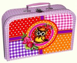 Kinderkoffertje Ollie roze ruit
