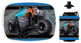 Set Mepal broodtrommel en beker Monstertruck Wheel Track