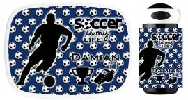 Set broodtrommel en drinkbeker Soccer (voetbal) is my life