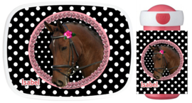 Set Mepal broodtrommel en drinkbeker paard op zwart/wit polkadot