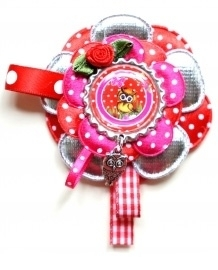 Keycord of Broche Ollie rood/fuchsia/zilver