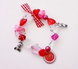 Kralenarmbandje elastisch Lalaloopsy roze/rood