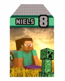 Kinderfeest traktatie labels Minecraft, setje van 5 stuks