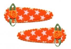 Koninklijke Haarspeldjes oranje ster met roosje