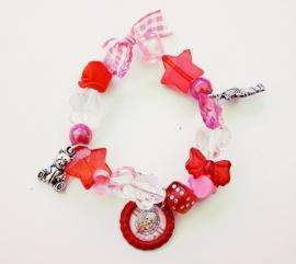 Kralenarmbandje elastisch Pip roze/rood