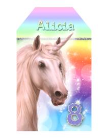 Kinderfeest traktatie labels Unicorn Rainbow, setje van 5 stuks