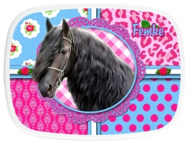 Broodtrommel Fries paard pink/turquoise Femke