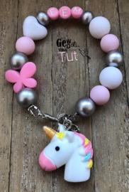 Armbandje unicorn pink white silver