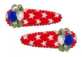 Koninklijke Haarspeldjes rood ster met Hollandse roosjes