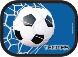 Broodtrommel Voetbal Goal! blauw