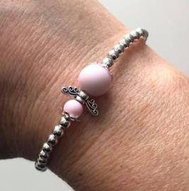 Guardian Angel armbandje, zilver (engeltje in kleur naar keuze)