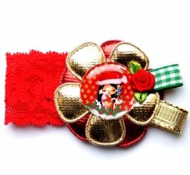 Kerst elastisch armbandje Juul rood/goud