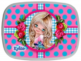 Broodtrommel Kylie turquoise/ roze