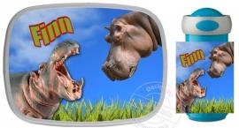 Set broodtrommel en drinkbeker Nijlpaard voor Finn!