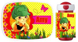 Set Mepal broodtrommel en drinkbeker Flower Power Amy