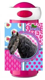 Drinkbeker Fries paard pink/turquoise Femke