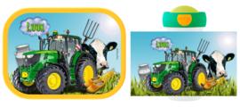 Mepal broodtrommel en drinkbeker Traktor Koe John Deere