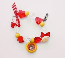 Kralenarmbandje elastisch Juul geel/rood