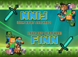 Kinderfeest traktatiezakjes Minecraft colours, setje van 5 stuks