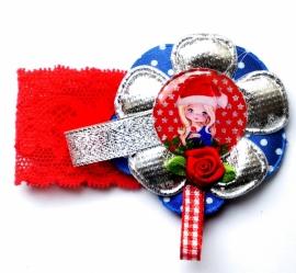 Kerst elastisch armband Pipsy rood/zilver/blauw